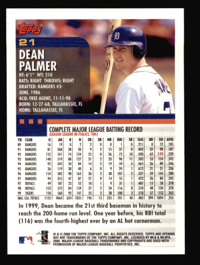 2000 Topps Opening Day #21  Dean Palmer