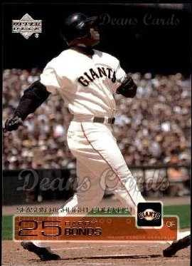 2003 Upper Deck #263   -  Barry Bonds Season Highlights