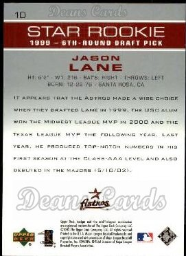 2003 Upper Deck #10   -  Jason Lane Star Rookie