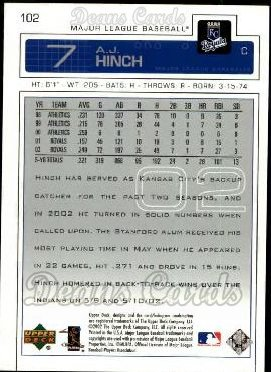 2003 Upper Deck #102  A.J. Hinch
