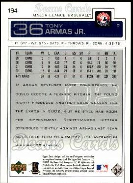 2003 Upper Deck #194  Tony Armas Jr.