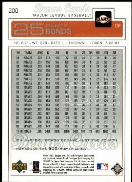 2003 Upper Deck #200  Barry Bonds