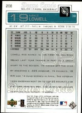 2003 Upper Deck #208  Mike Lowell