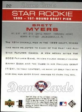 2003 Upper Deck #22   -  Brett Myers Star Rookie