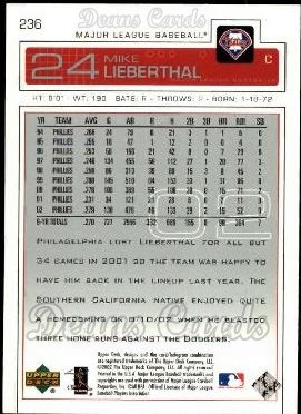 2003 Upper Deck #236  Mike Lieberthal