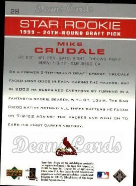 2003 Upper Deck #28   -  Mike Crudale Star Rookie
