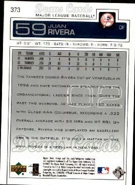 2003 Upper Deck #373  Juan Rivera