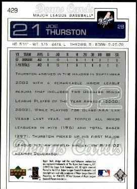 2003 Upper Deck #429  Joe Thurston