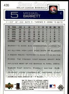 2003 Upper Deck #436  Michael Barrett
