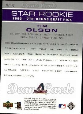 2003 Upper Deck #506   -  Tim Olson Star Rookie