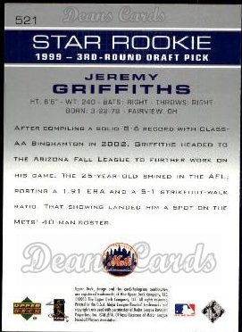 2003 Upper Deck #521   -  Jeremy Griffiths Star Rookie
