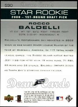 2003 Upper Deck #530   -  Rocco Baldelli Star Rookie