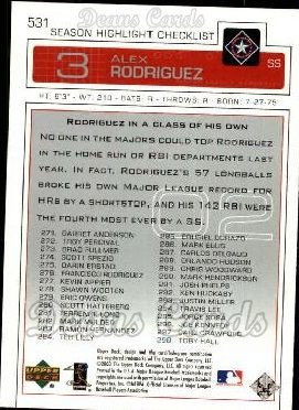 2003 Upper Deck #531   -  Alex Rodriguez Season Highlights