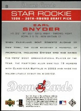 2003 Upper Deck #8   -  Earl Snyder Star Rookie