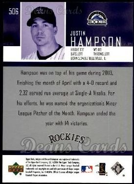 2004 Upper Deck #506  Justin Hampson