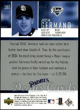 2004 Upper Deck #580  Justin Germano