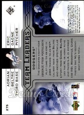 2005 Upper Deck #275   -  Adrian Beltre / Eric Gagne Dodgers Leaders