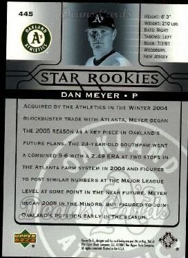 2005 Upper Deck #445   -  Dan Meyer Star Rookie