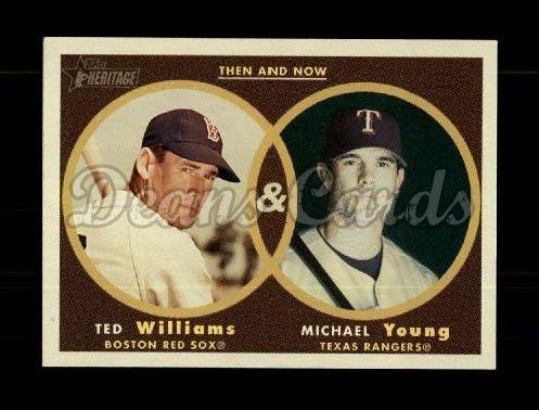 2006 Topps Heritage Then & Now #2 TN Ted Williams/Michael Young