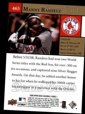 2009 Upper Deck #465   -  Manny Ramirez  Highlights