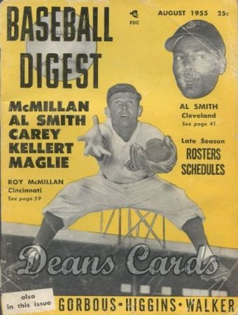 1955 Baseball Digest   -  Roy McMillan / Al Smith  August
