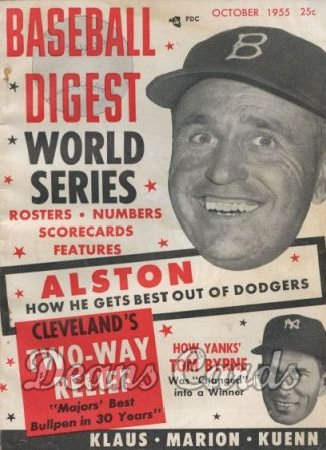 1955 Baseball Digest   -  Walt Alston / Tommy Byrne  October
