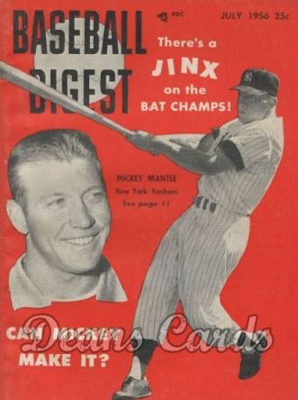 1956 Baseball Digest   -  Mickey Mantle  July