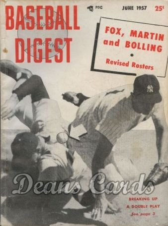 1957 Baseball Digest    June  Breaking up double play