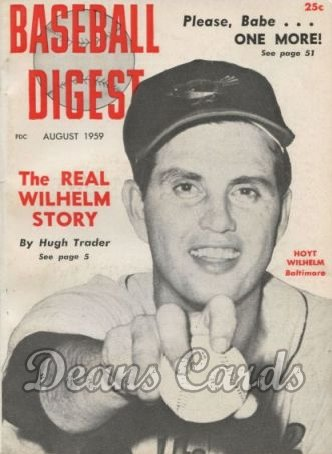 1959 Baseball Digest   -  Hoyt Wilhelm  August
