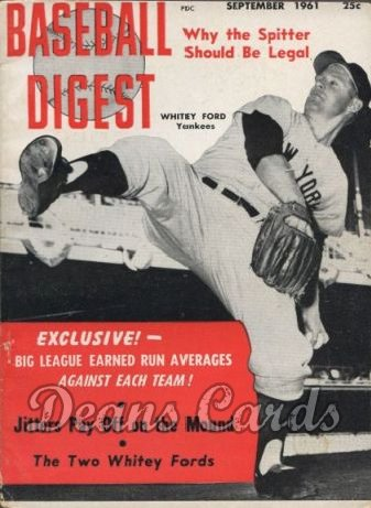 1961 Baseball Digest   -  Whitey Ford  September