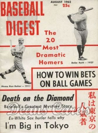 1962 Baseball Digest   -  Babe Ruth / Home Run Baker  August