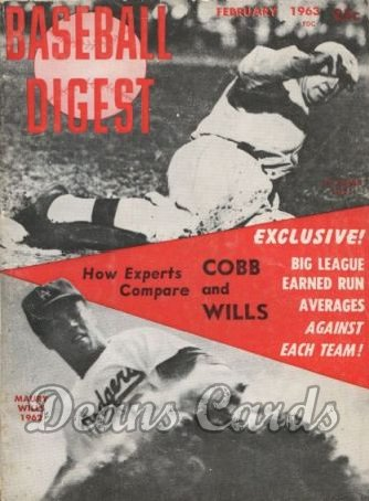 1963 Baseball Digest   -  Ty Cobb / Mary Wills  February