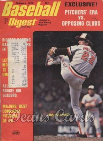 1976 Baseball Digest   -  Jim Palmer  February