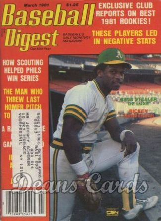 1981 Baseball Digest   -  Rickey Henderson  March