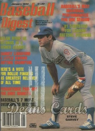1982 Baseball Digest   -  Steve Garvey  January