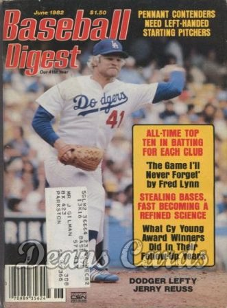 1982 Baseball Digest   -  Jerry Reuss  June