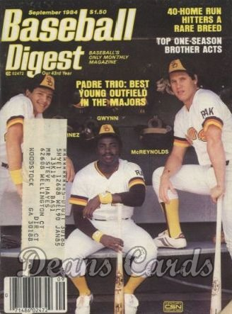 1984 Baseball Digest   -  Martinez / McReynolds / Gwynn  September