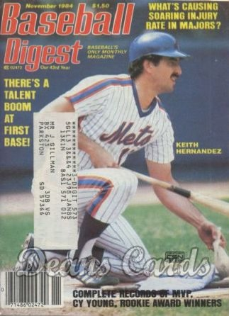 1984 Baseball Digest   -  Keith Hernandez  November