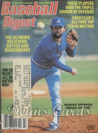 1985 Baseball Digest   -  Bruce Sutter  July