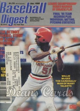 1986 Baseball Digest   -  Willie McGee  January