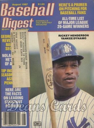 1987 Baseball Digest   -  Rickey Henderson  August