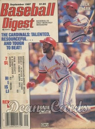 1987 Baseball Digest   -  Ozzie Smith / Jack Clark  September