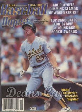 1987 Baseball Digest   -  Mark McGwire  October