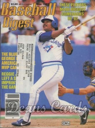 1987 Baseball Digest   -  George Bell  November