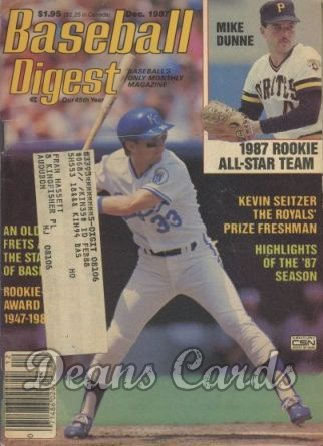 1987 Baseball Digest   -  Mike Dunne / Kevin Seitzer  December