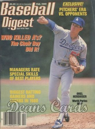 1989 Baseball Digest   -  Orel Hershiser  February