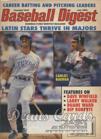 1993 Baseball Digest   -  Carlos Baerga / Jose Gonzalez  July