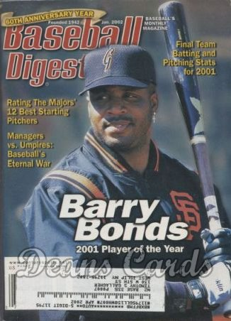 2002 Baseball Digest   -  Barry Bonds  January