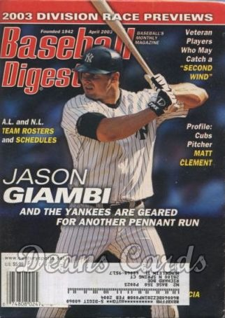 2003 Baseball Digest   -  Jason Giambi  April