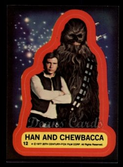1977 Topps Star Wars Stickers #12   Han and Chewbacca